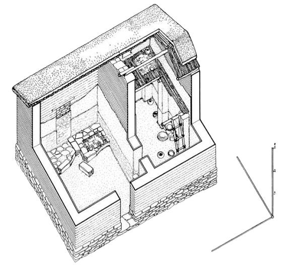 Representación gráfica de la casa 11-12 de Sesklo por M. Korres.